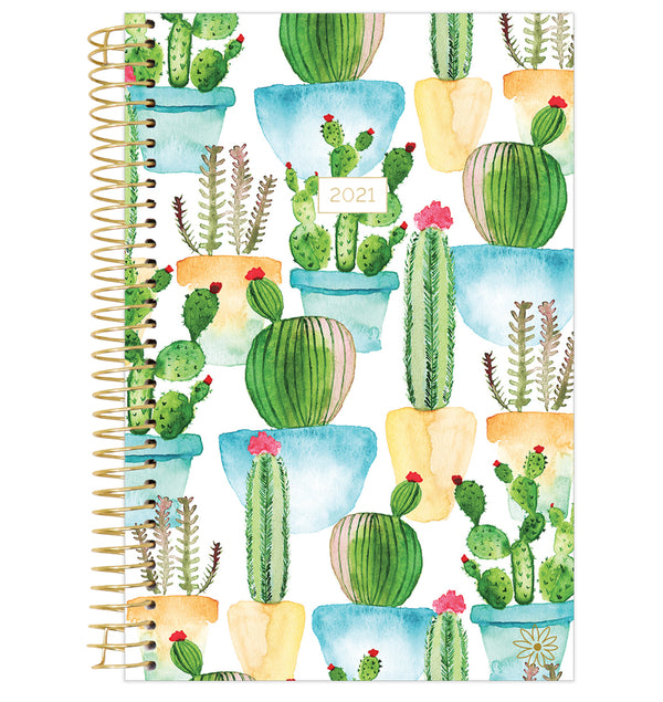White Cacti 2021 Soft Cover Daily Planner