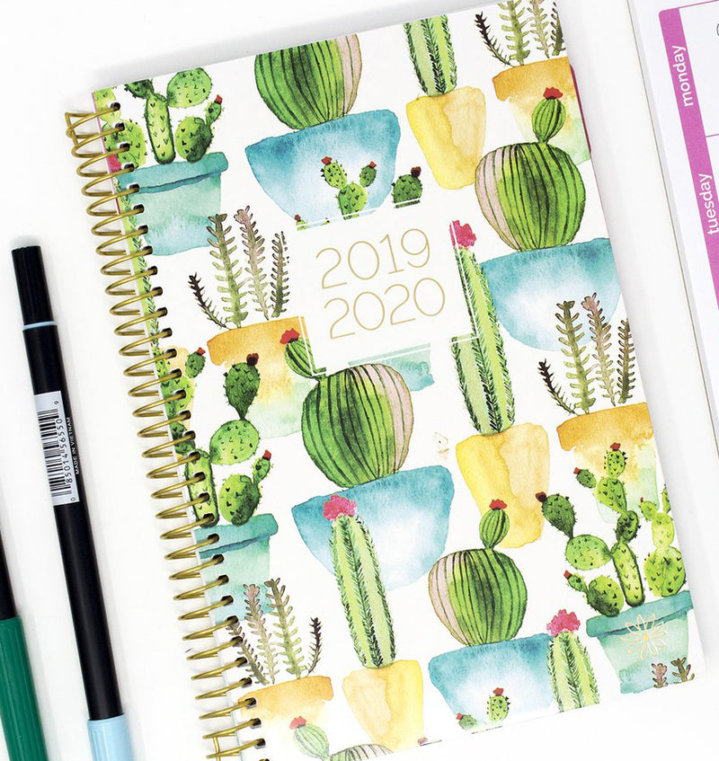 White Cacti 2019-2020 Bloom Soft Cover Daily Planner Cover