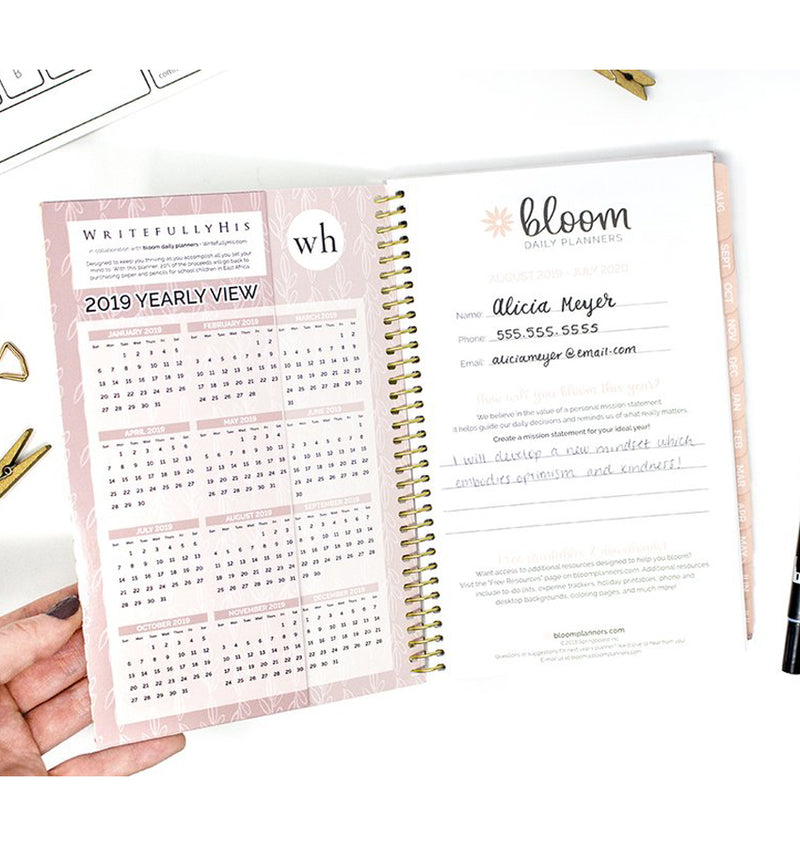 Writefully His 2019-2020 Bloom Soft Cover Daily Planner Cover Pages