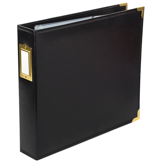 "American Crafts 12 ""x 12"" Black Classic Faux Leather D-Ring Binder Album Side View at Craftforher"