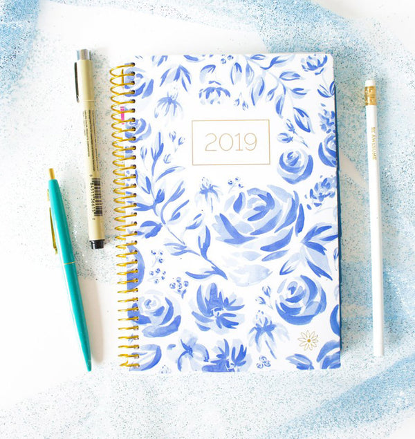 Blue & White Floral 2019 Soft Cover Daily Planner