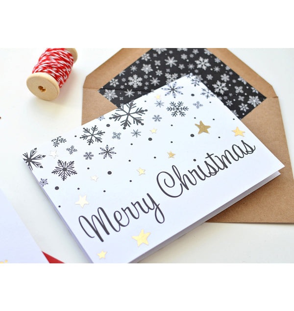 Christmas Kraft and Snowflakes Cards and Envelopes (8pcs)