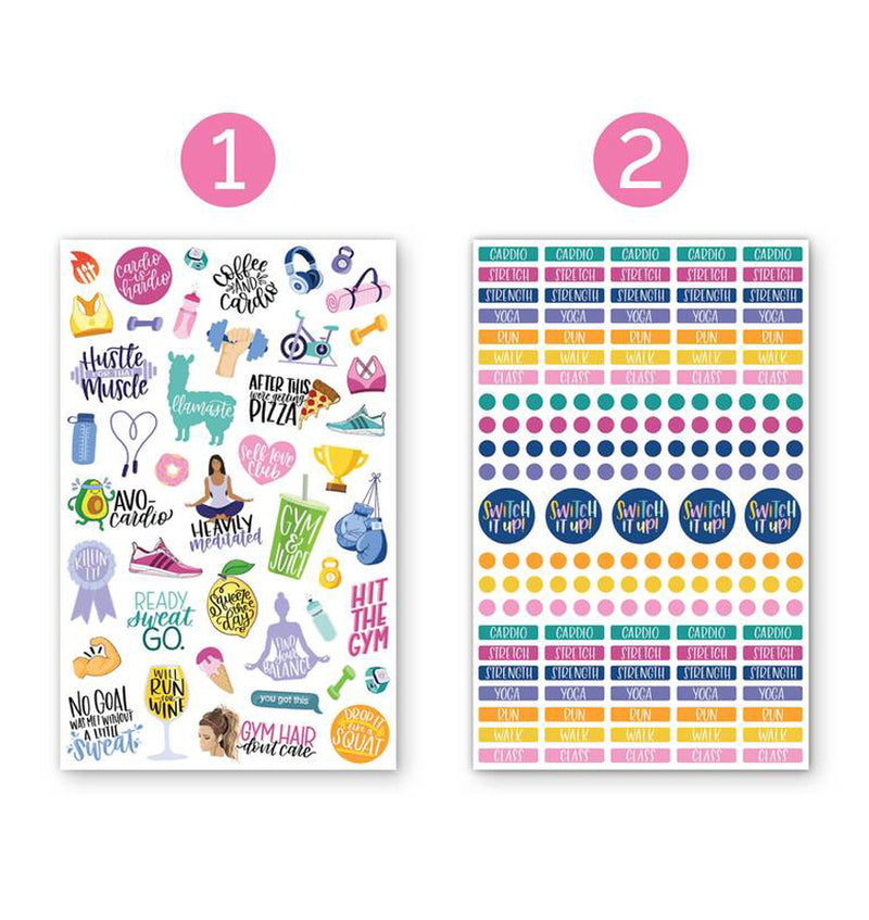 Bloom's Fitness & Healthy Living Planner Sticker Sheets 6pcs Pack, 1st and 2nd designs