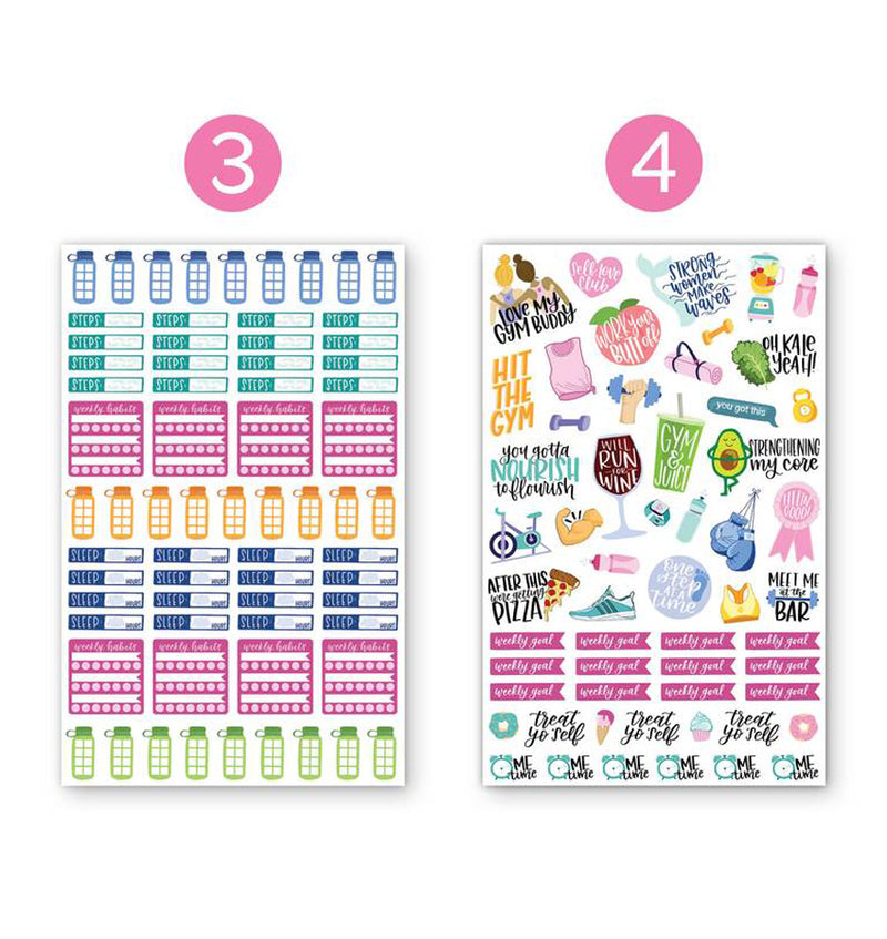 Bloom's Fitness & Healthy Living Planner Sticker Sheets 6pcs Pack, 3rd and 4th designs