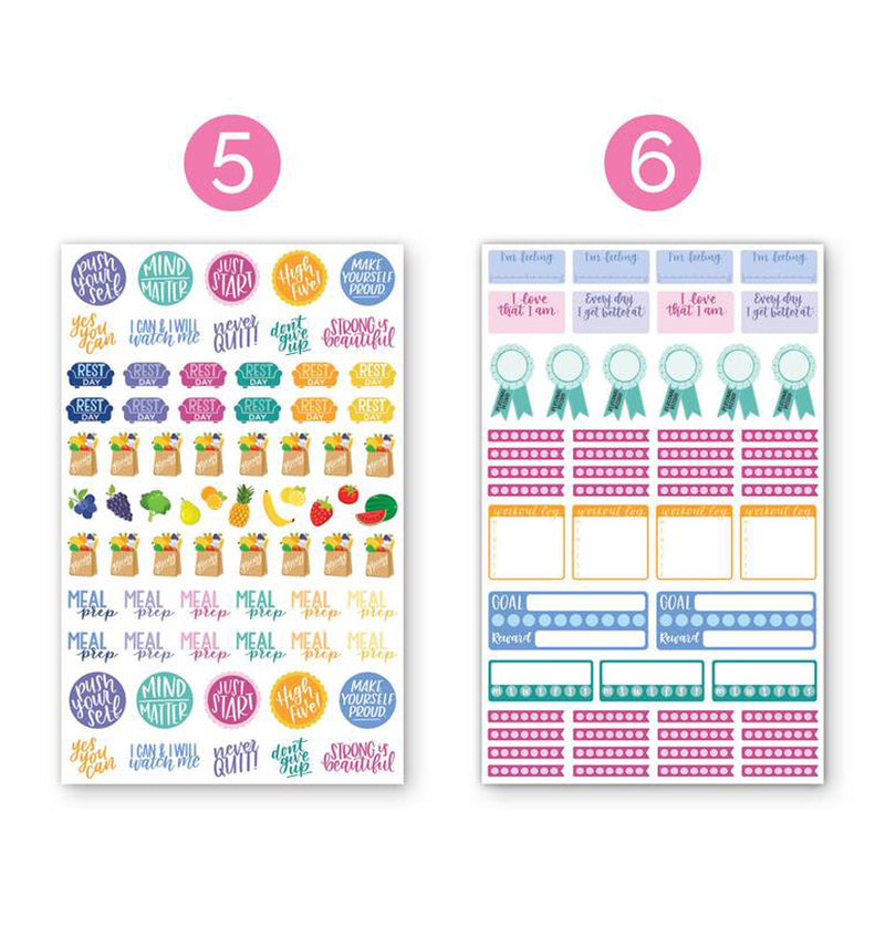 Bloom's Fitness & Healthy Living Planner Sticker Sheets 6pcs Pack, 5th and 6th designs