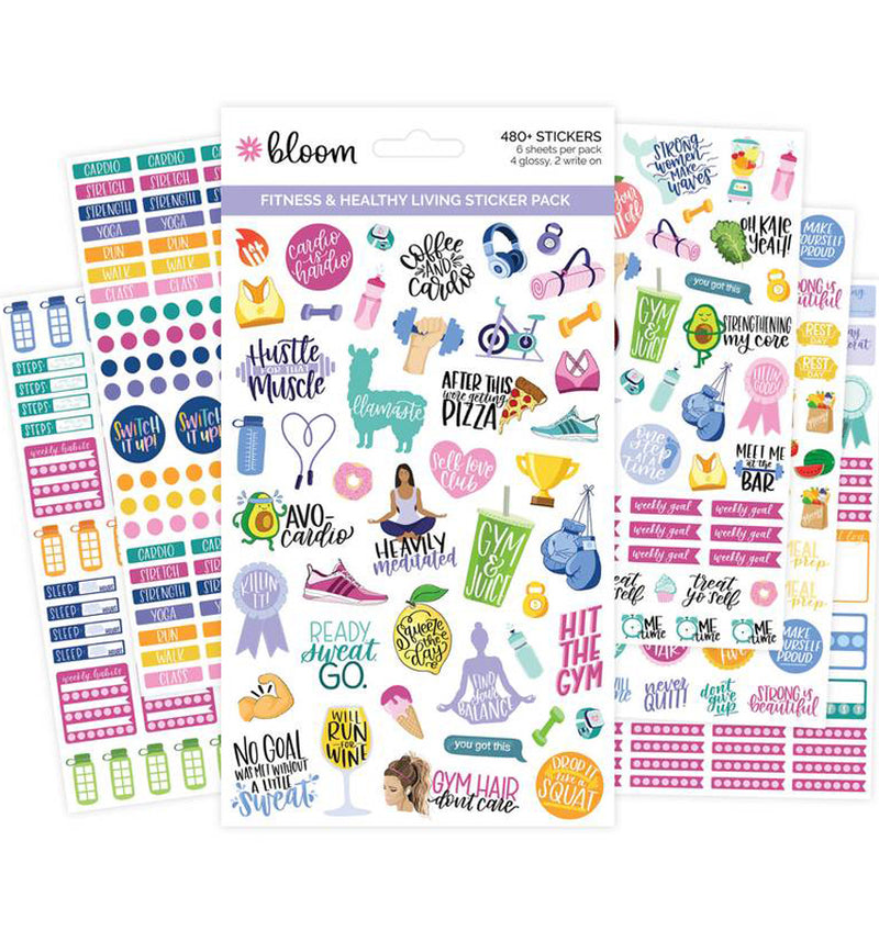 Bloom's Fitness & Healthy Living Planner Sticker Sheets 6pcs Pack