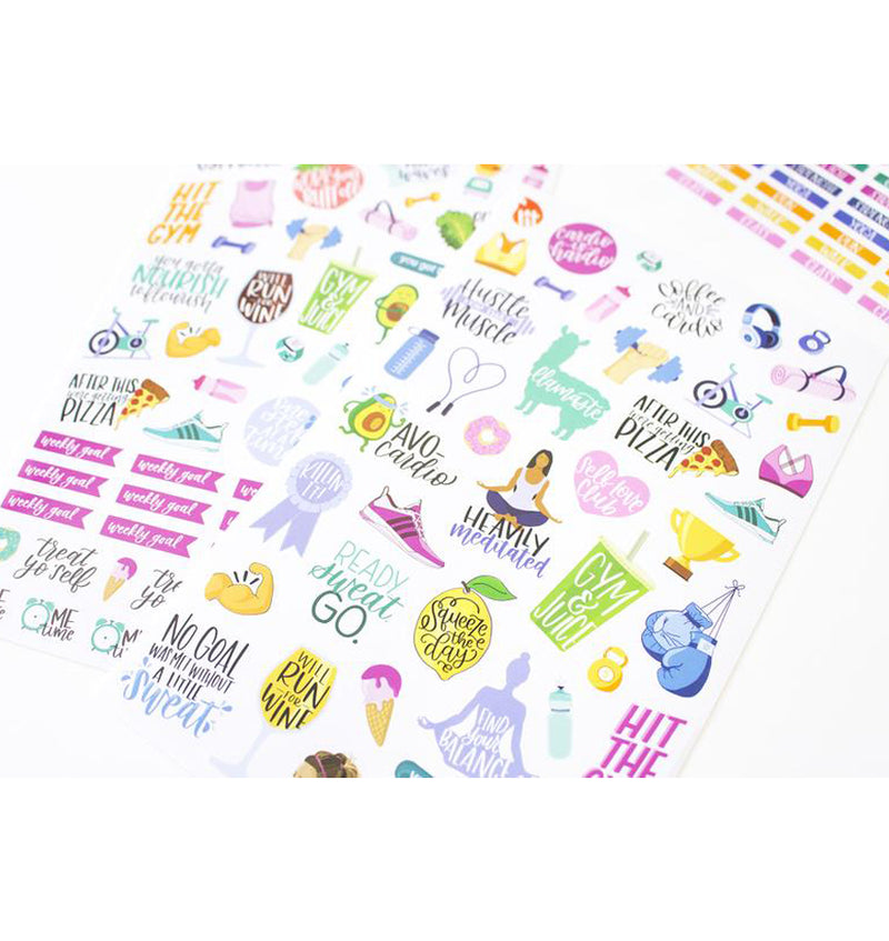 Bloom's Fitness & Healthy Living Planner Sticker Sheets 6pcs Pack, Close Up