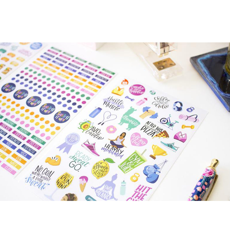 Bloom's Fitness & Healthy Living Planner Sticker Sheets 6pcs Pack, Close Up 2