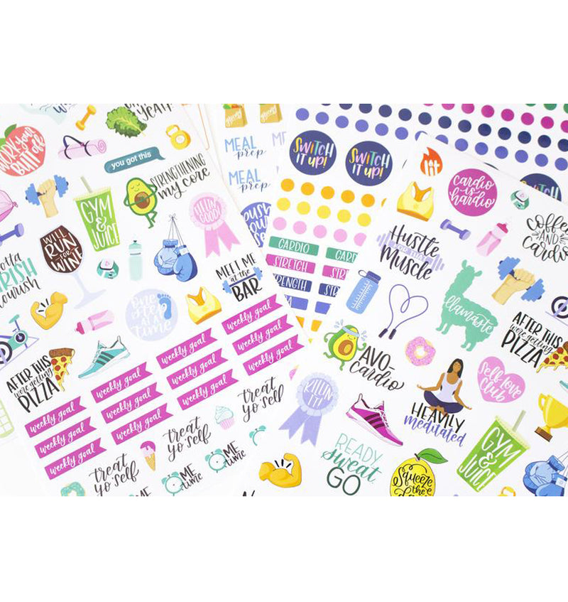 Bloom's Fitness & Healthy Living Planner Sticker Sheets 6pcs Pack, Designs