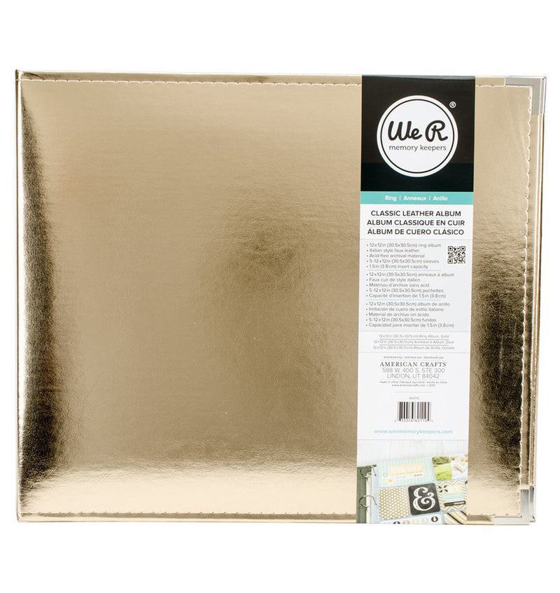 "We R Memory Keepers 12"" x 12"" Classic Leather, Gold Three Ring Album Front View in a Packaging"