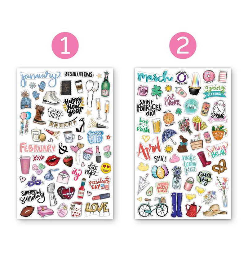 Bloom's Holiday Planner Sticker Sheets 6pcs Pack, 1st and 2nd designs