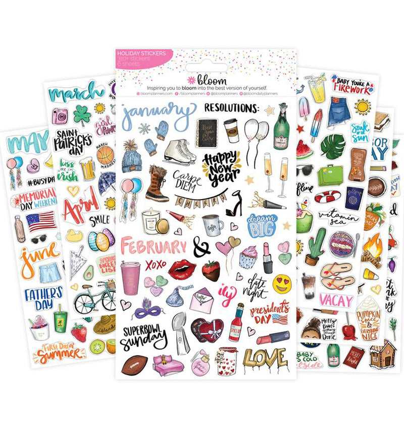 Bloom's Holiday Planner Sticker Sheets 6pcs Pack