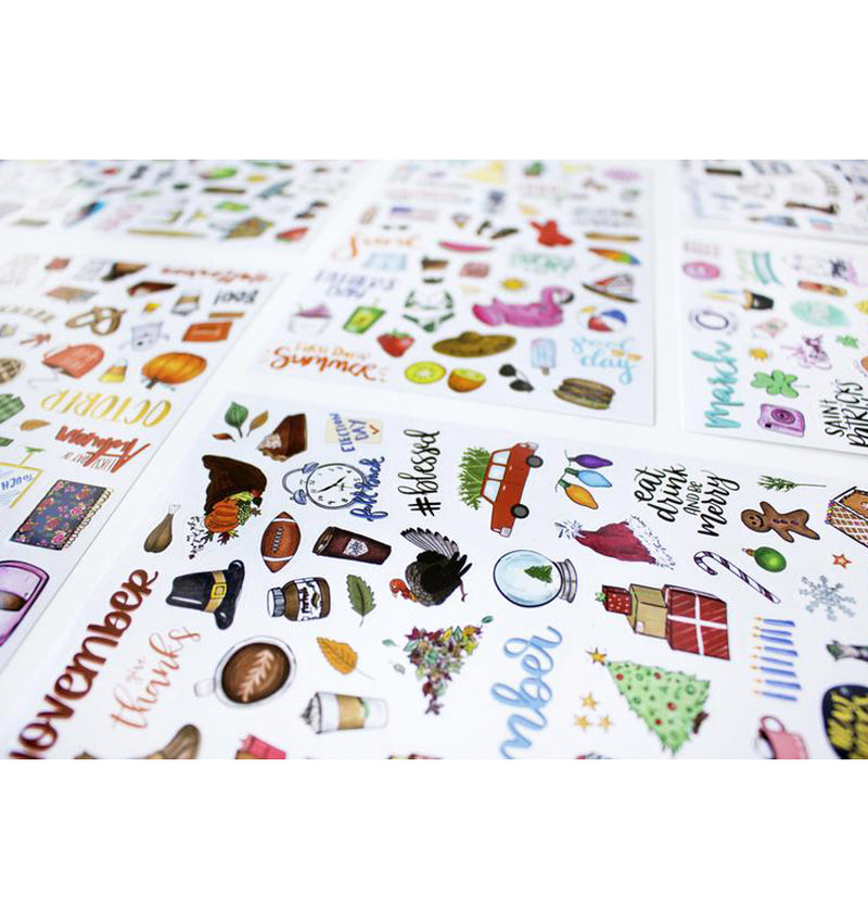 Bloom's Holiday Planner Sticker Sheets 6pcs Pack Close Up 2