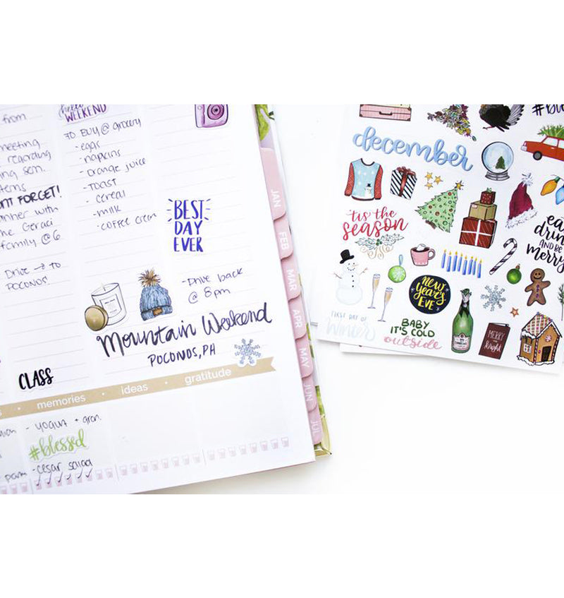 Bloom's Holiday Planner Sticker Sheets 6pcs Pack on a Planner