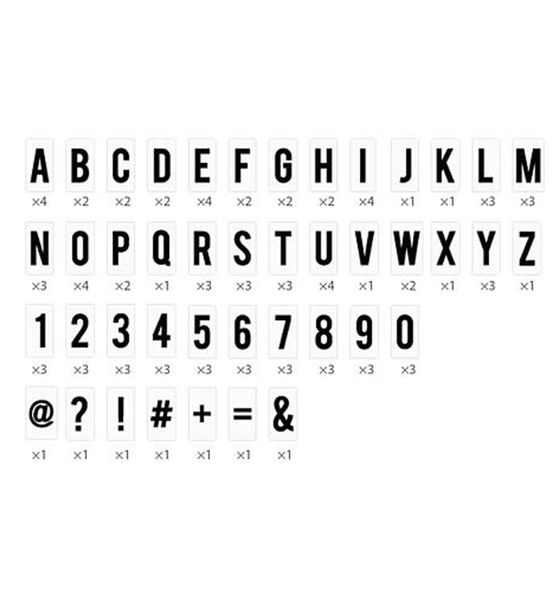 "Heidi Swapp Lightbox Original Kit 13"" x 10"" (103 Letters & Numbers), Alphabets, Numbers and Symbols Breakdown"