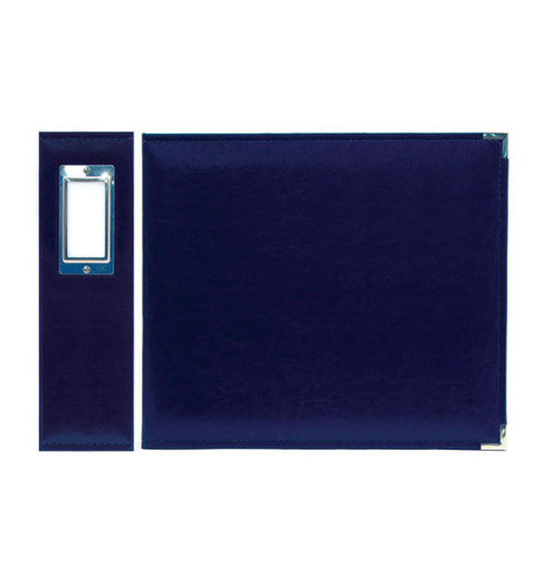"We R Memory Keepers 6"" x 6"" Navy Classic Leather Three Ring Album Side View with Metal Accent"
