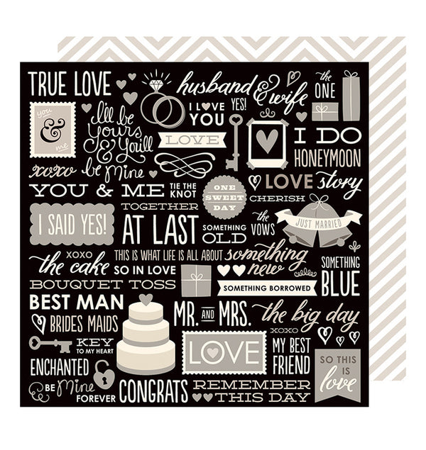 American Crafts Wedding Phrases 12 x 12 Double Sided Paper