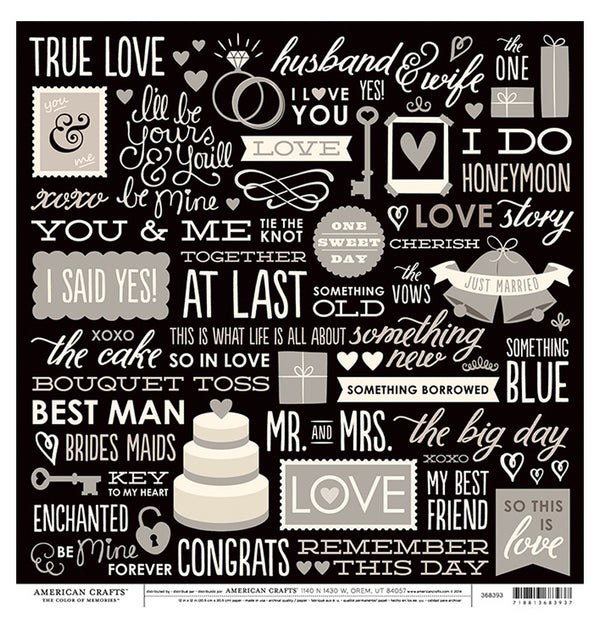 American Crafts Wedding Phrases 12 x 12 Double Sided Paper Front