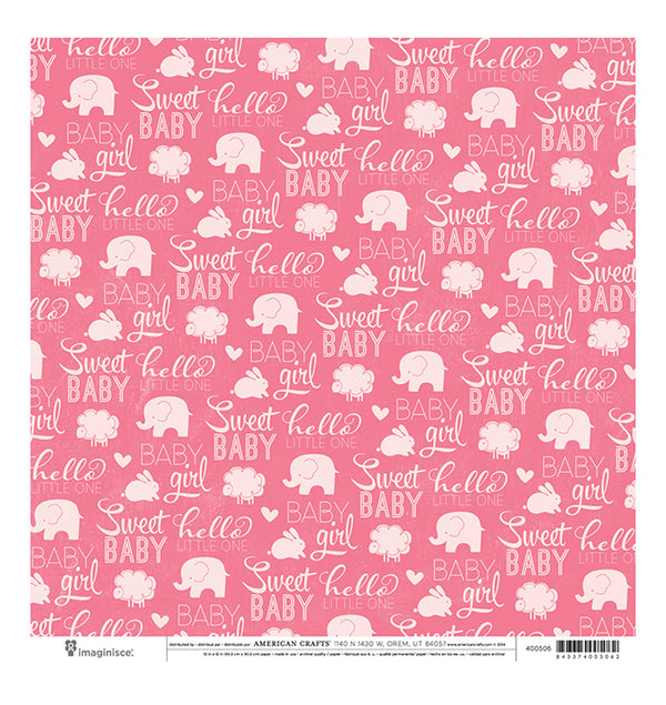 American Crafts Sweet Baby Girl 12 x 12 Double Sided Paper Front