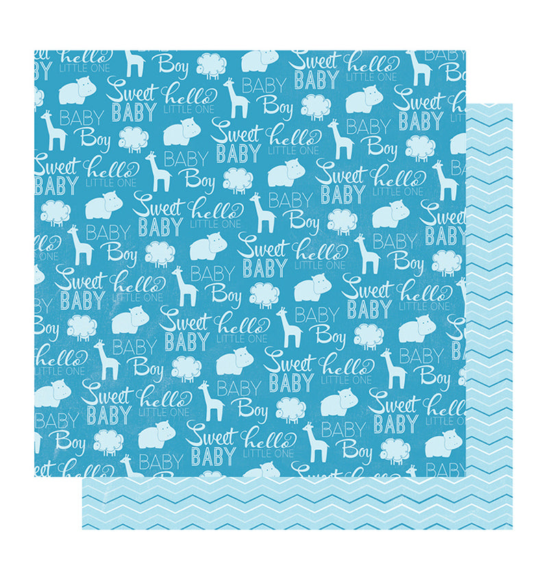 American Crafts Sweet Baby Boy 12 x 12 Double Sided Paper