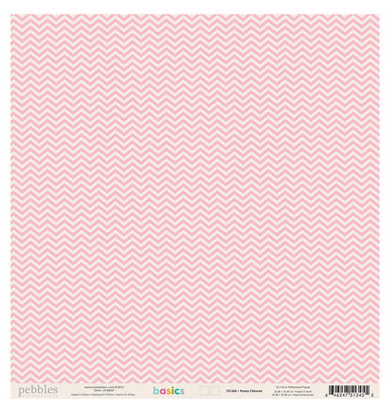 Pebbles Peony Chevron 12 x 12 Double Sided Paper Back