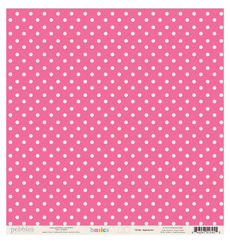 Pebbles Basics Begonia 12 x 12 Double Sided Paper Front
