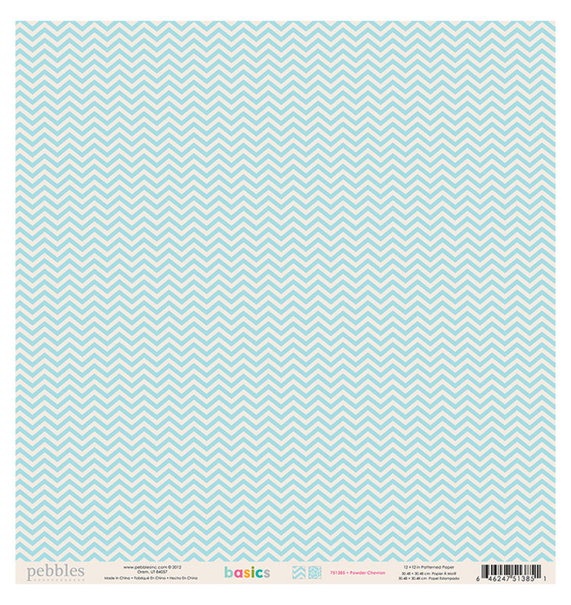 Pebbles Powder Chevron 12 x 12 Double Sided Paper Back