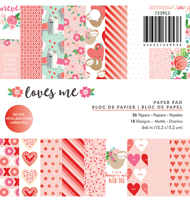 "Pebbles Loves Me 6"" x 6"" Paper Pad with Foil Accents"