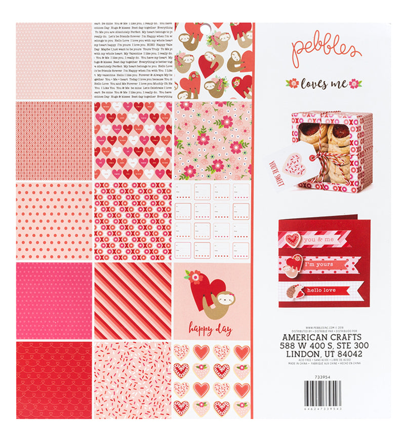 "Pebbles Loves Me 12"" x 12"" Paper Pad with Foil Accents Back"
