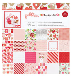"Pebbles Loves Me 12"" x 12"" Paper Pad with Foil Accents"