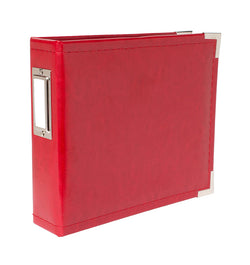 "We R Memory Keepers 6"" x 6"" Red Classic Leather Three Ring Album with Metal Accent at Craftforher"