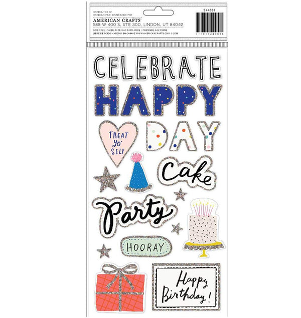 Crate Paper Hooray Printed Foam Glitter Thickers Back