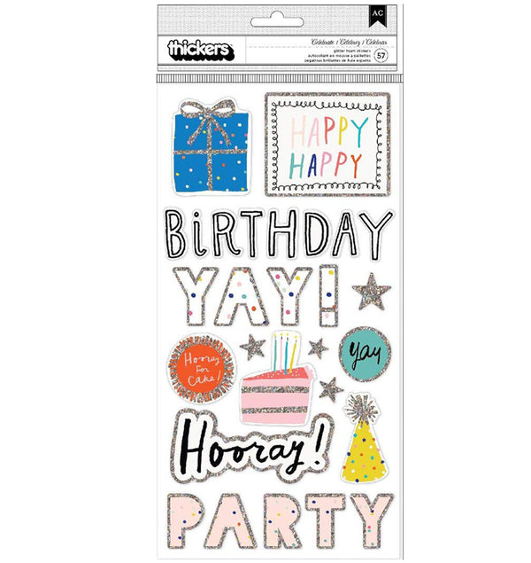Crate Paper Hooray Printed Foam Glitter Thickers Front