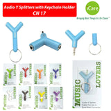 iCare Audio Y Splitters with Keychain Holder CN 17 Sky Blue