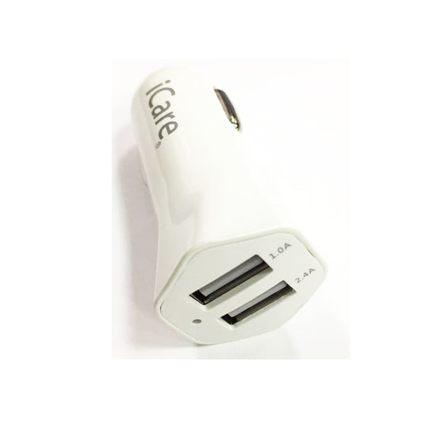 iCare 2 USB Car Charger 2.4A CC 7 White