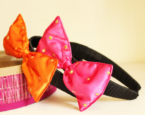 Embroidered Bow Hair Band