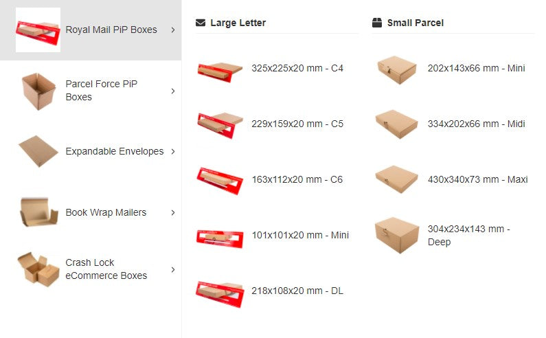 Postal packaging   PiP boxes   Sustainable packaging