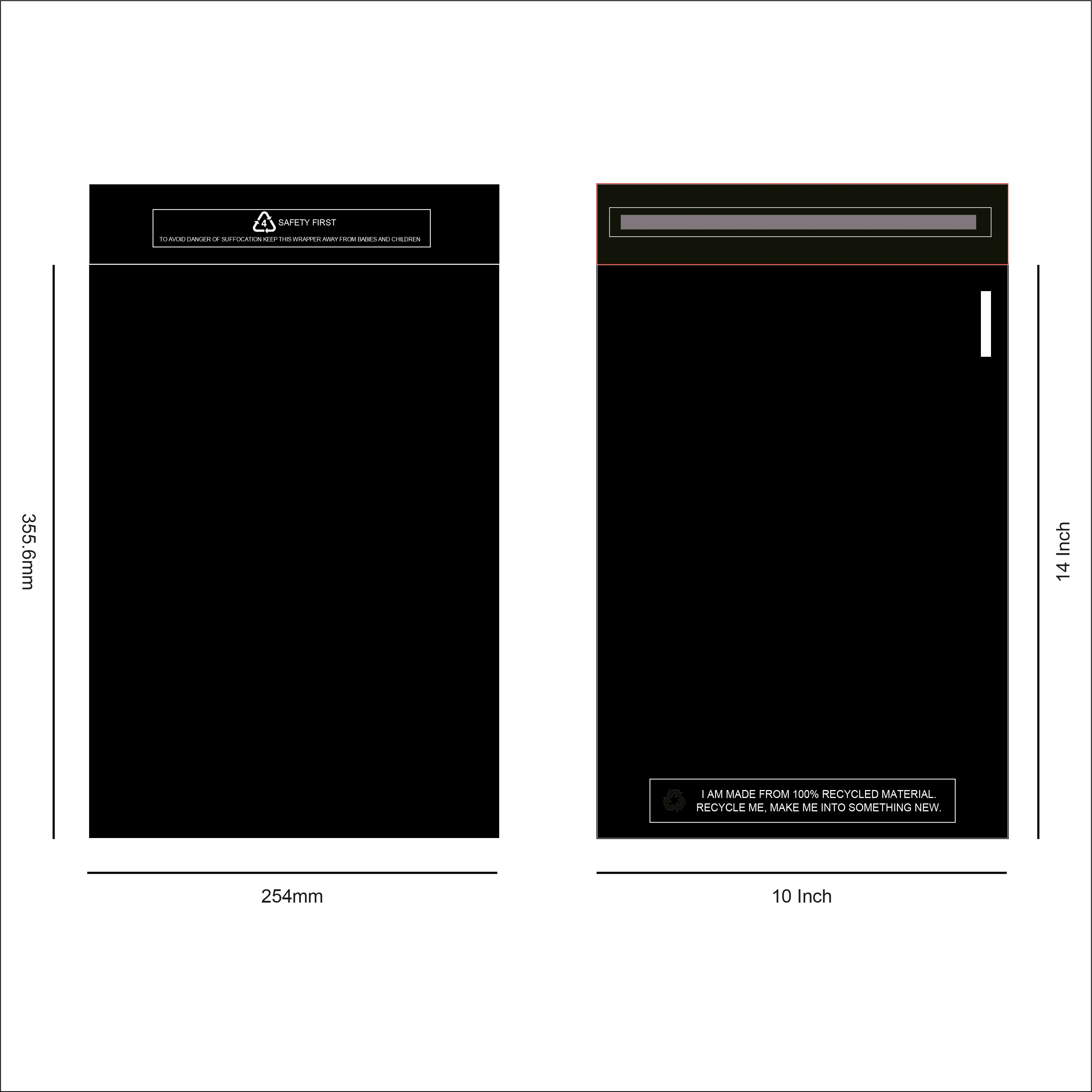 Black Recycled Mail Bag <br>(10x14 inch/25.4x35.6cm),SR Mailing,Mailing Bags.