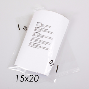 "15x20"" CPP Transparent Packaging Bag with Warning Labels Printed"