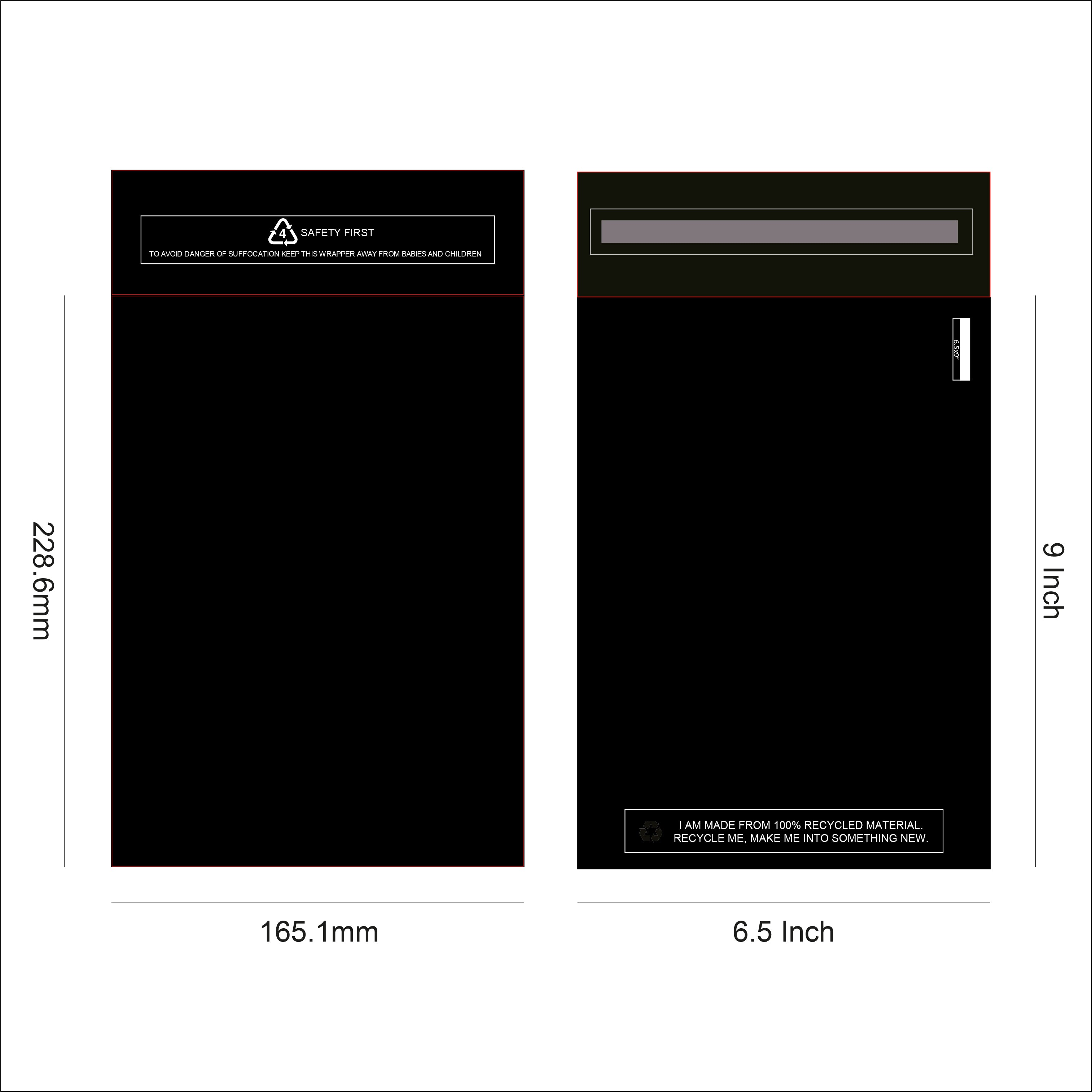 Black Recycled Mail Bag<br>(6.5x9 inch/16.5x22.9cm),SR Mailing,Mailing Bags.