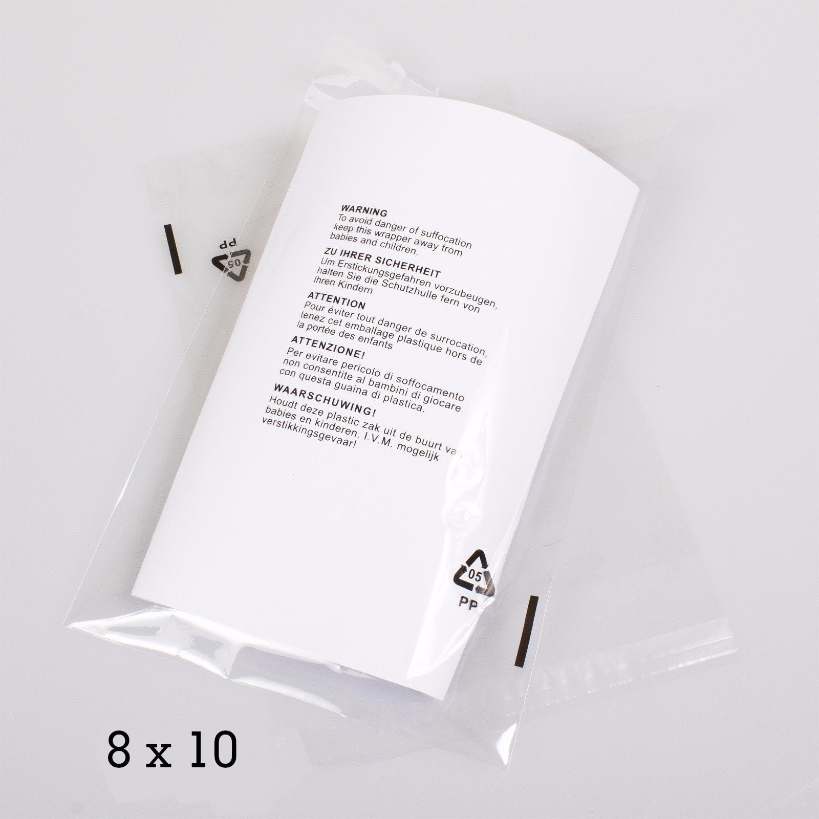 "8x10"" CPP Transparent Packaging Bag with  Warning Labels Printed,SR Mailing,Transparent Bags."