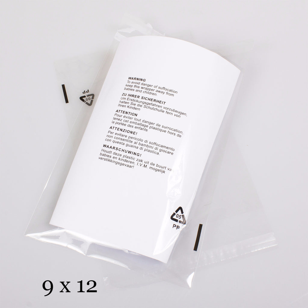 "9x12"" CPP Transparent Packaging Bag with  Warning Labels Printed,SR Mailing,"