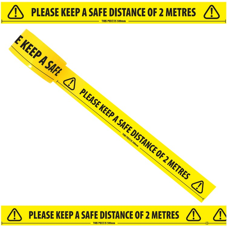 Keep A Safe Distance of 2 Meters Tape,SR Mailing Ltd- Innovating Zero Waste Packaging,