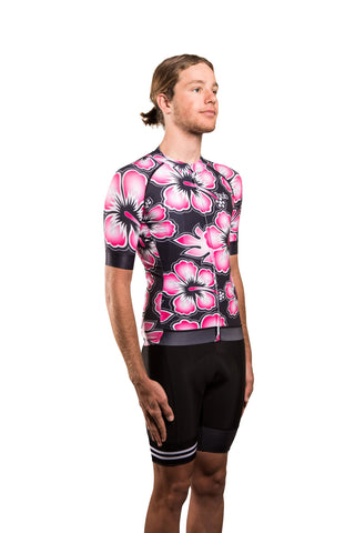 HUB Premium Men's Short Sleeve Jersey - Hawaiian Black / Pink