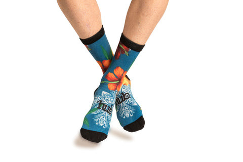 Hawaiian Print Sock - Mid Blue