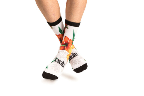 Hawaiian Print Sock - White
