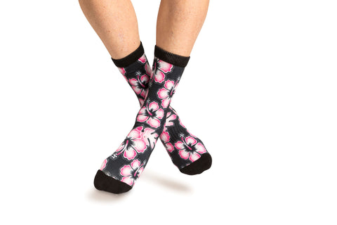 Hawaiian Print Sock - Black