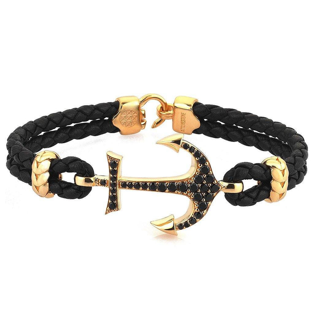 Atolyestone Bracelet - 18K YELLOW GOLD ANCHOR BLACK LEATHER
