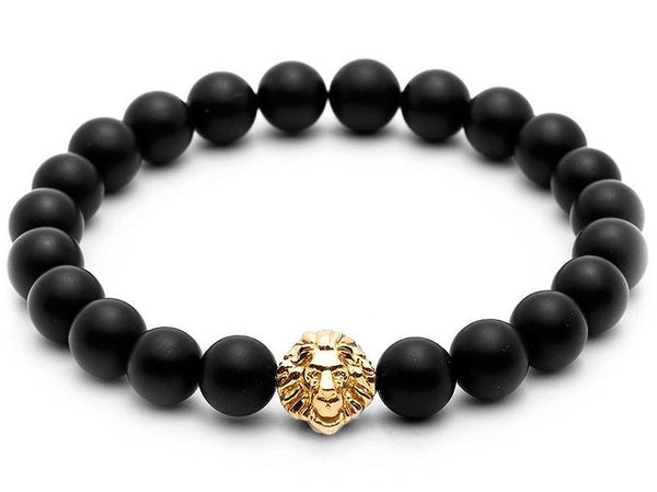 Atolyestone Bracelet - 18K YELLOW GOLD LION MATT ONYX