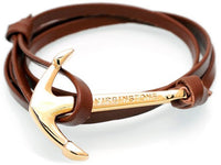 Virginstone Bracelet - Anchor Bracelet Brown leather / Gold